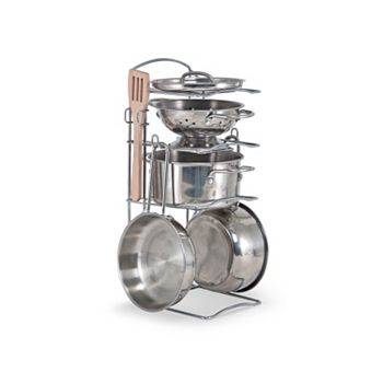 Melissa & Doug Stainless Steel Pots and Pans Play Kitchen Set