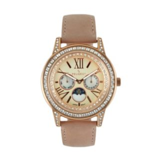 Peugeot Women's Leather Moon Phase Watch