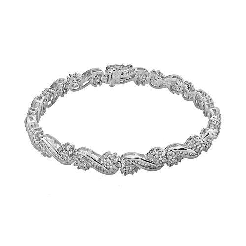Sterling Silver 1-ct. T.W. Diamond Swirl Bracelet