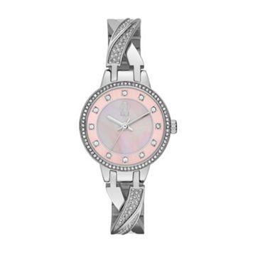 Jennifer Lopez Women's Crystal Stainless Steel Half-Bangle Watch
