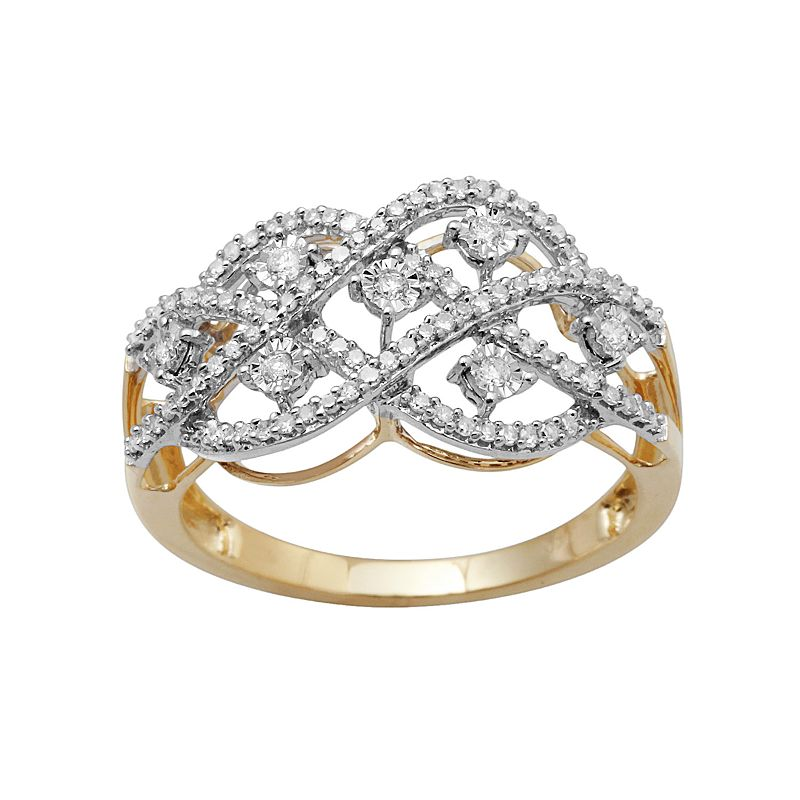 10k Gold 1/3-ct. T.W. Diamond Openwork Ring