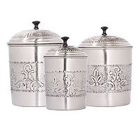 Old Dutch Victoria 3 pc Embossed Kitchen Canister Set