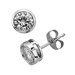 Forever Brilliant 14k White Gold Round-Cut 1 ctT.W. Lab-Created Moissanite Stud Earrings