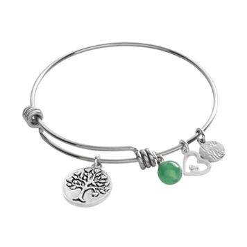 love this life Silver-Plated & Stainless Steel Green Aventurine Bead