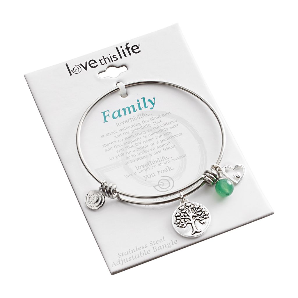 love this life Silver-Plated and Stainless Steel Green Aventurine Bead Family Bangle Bracelet