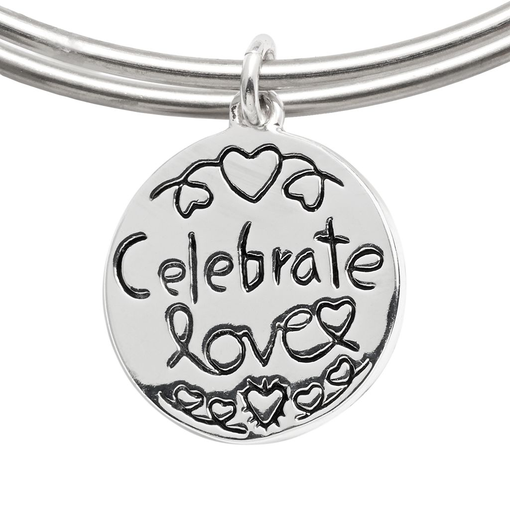 love this life Gold Tone, Silver Plate and Stainless Steel '' Love'' Bangle Bracelet