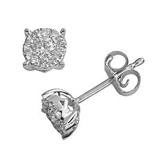10k White Gold 1/4 ctT.W. IGI Certified Round-Cut Diamond Stud Earrings