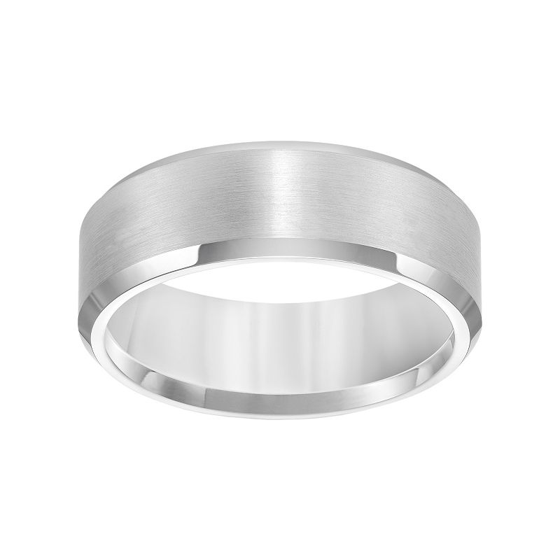 Cherish Always White Tungsten Beveled Wedding Band - Men