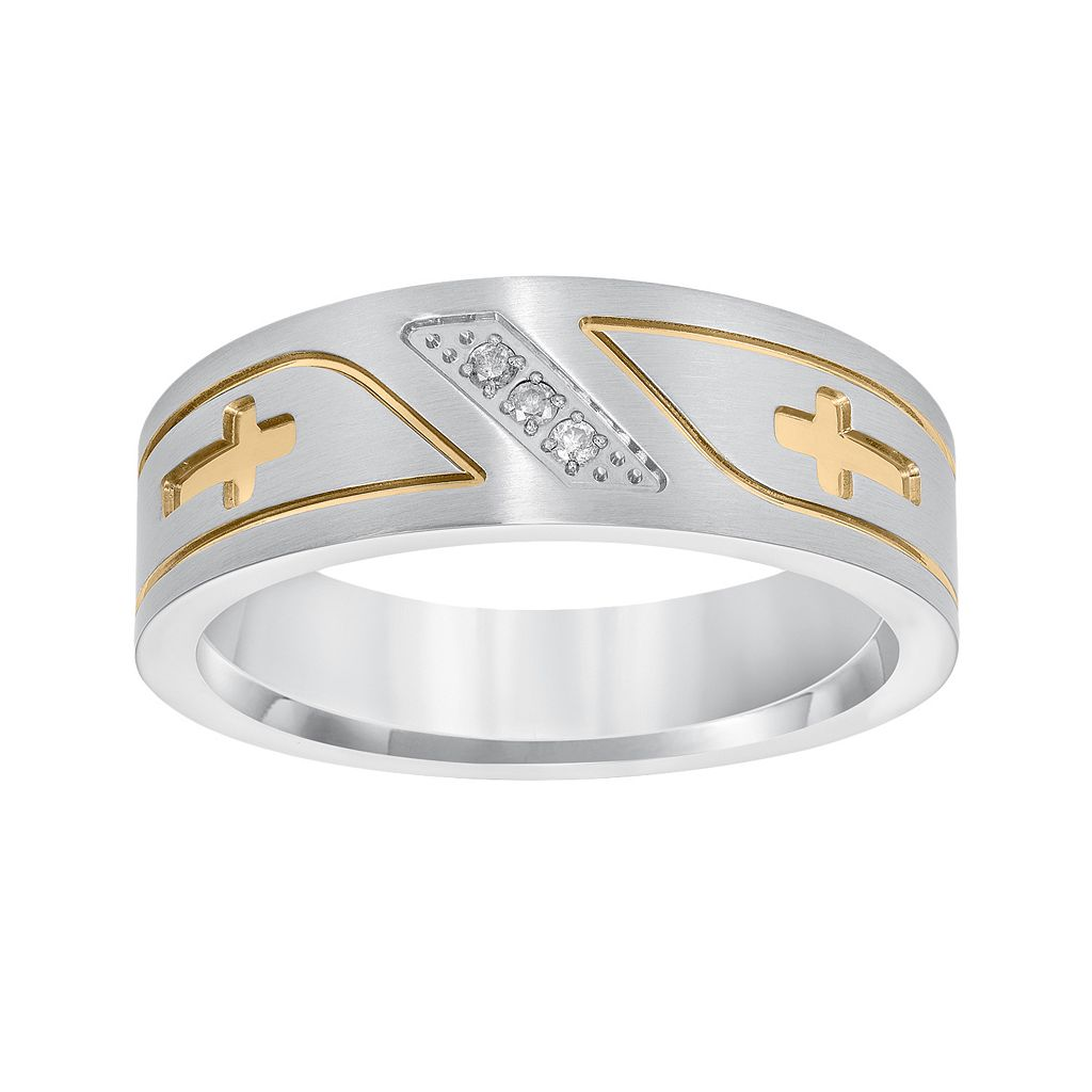 Cherish Always Yellow Ion-Plated Stainless Steel & Stainless Steel Diamond Accent Sideways Cross Band - Men