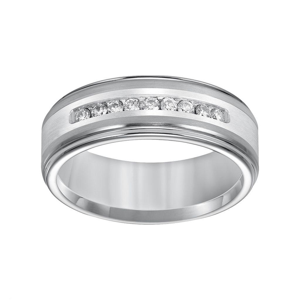 Cherish Always Tungsten and Sterling Silver 1/4-ct. T.W. Diamond Wedding Band - Men