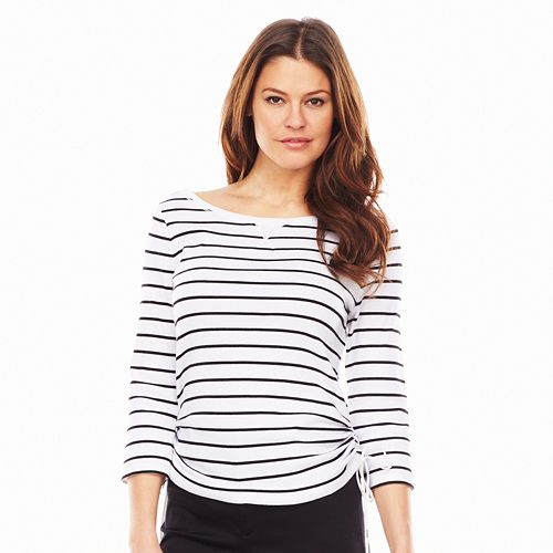 Chaps Striped Ruched Tee - Women's