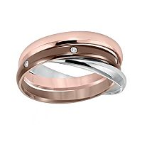 Cherish Always Tri-Tone Stainless Steel Diamond Accent Triple Band