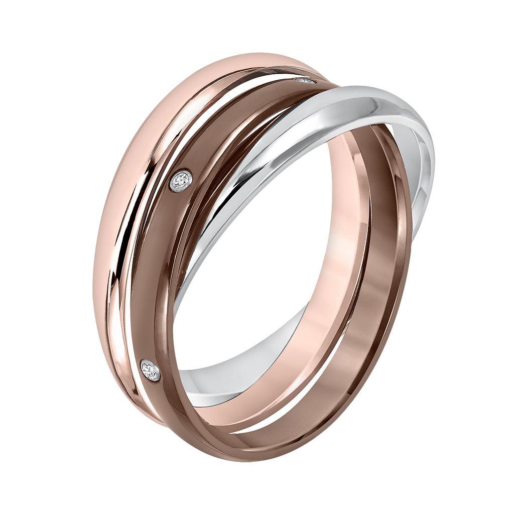 Cherish Always Tri-Tone Stainless Steel Diamond Accent Triple Band