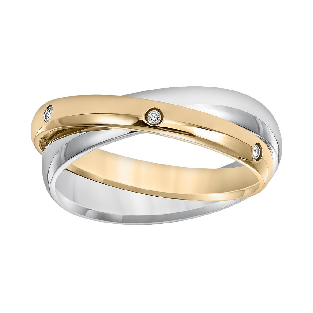 Cherish Always Yellow Ion-Plated Stainless Steel & Stainless Steel Diamond Accent Double Band
