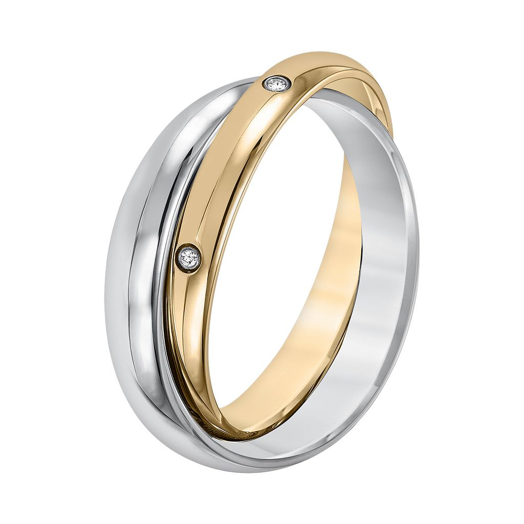 Cherish Always Yellow Ion-Plated Stainless Steel and Stainless Steel Diamond Accent Double Band
