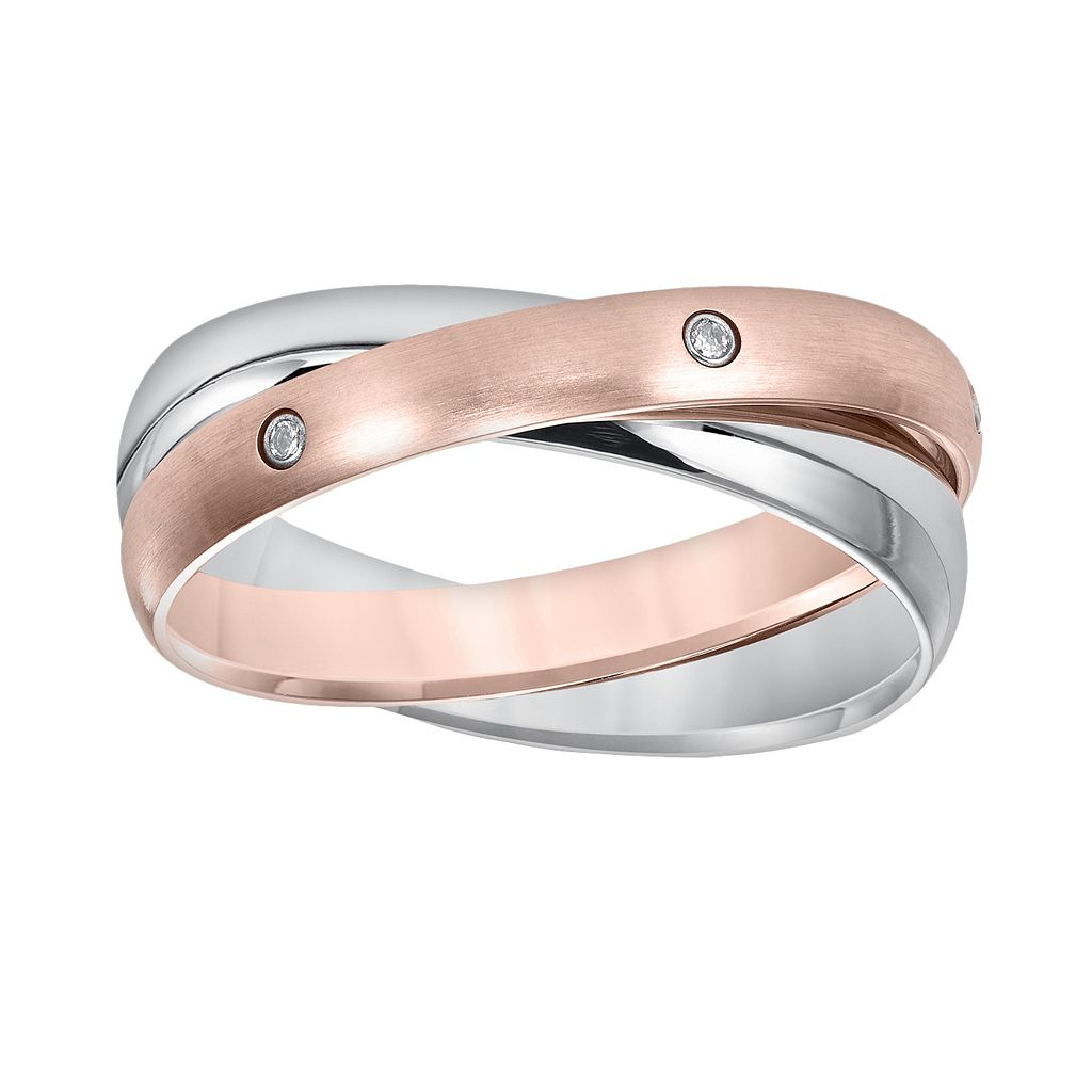 Cherish Always Pink Ion-Plated Stainless Steel & Stainless Steel Diamond Accent Double Band