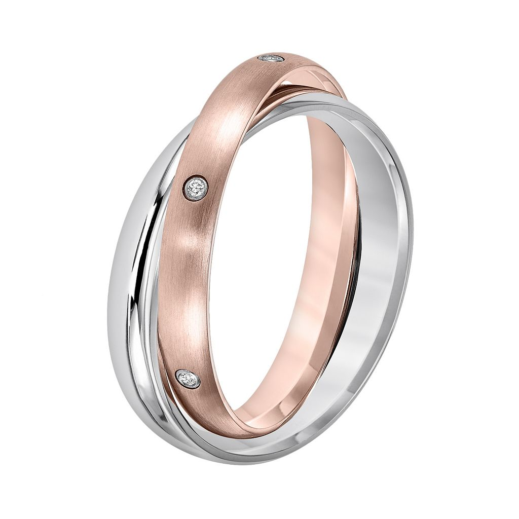 Cherish Always Pink Ion-Plated Stainless Steel and Stainless Steel Diamond Accent Double Band