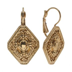 1928 Gold Tone Textured Drop Earrings