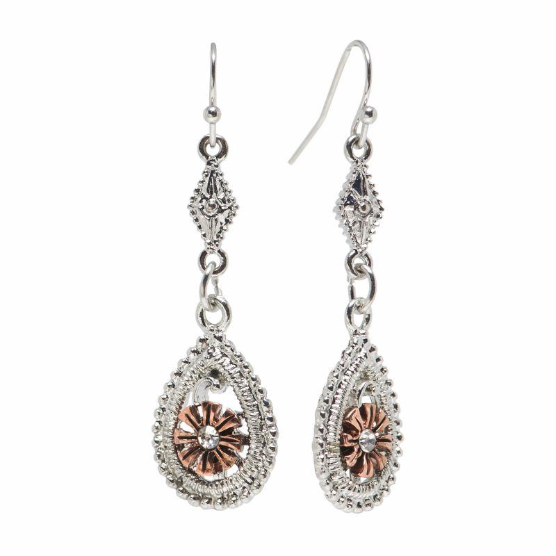 1928 two tone simulated flower teardrop earrings