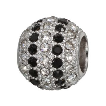 Individuality Beads Sterling Silver Black & White Crystal Striped Bead