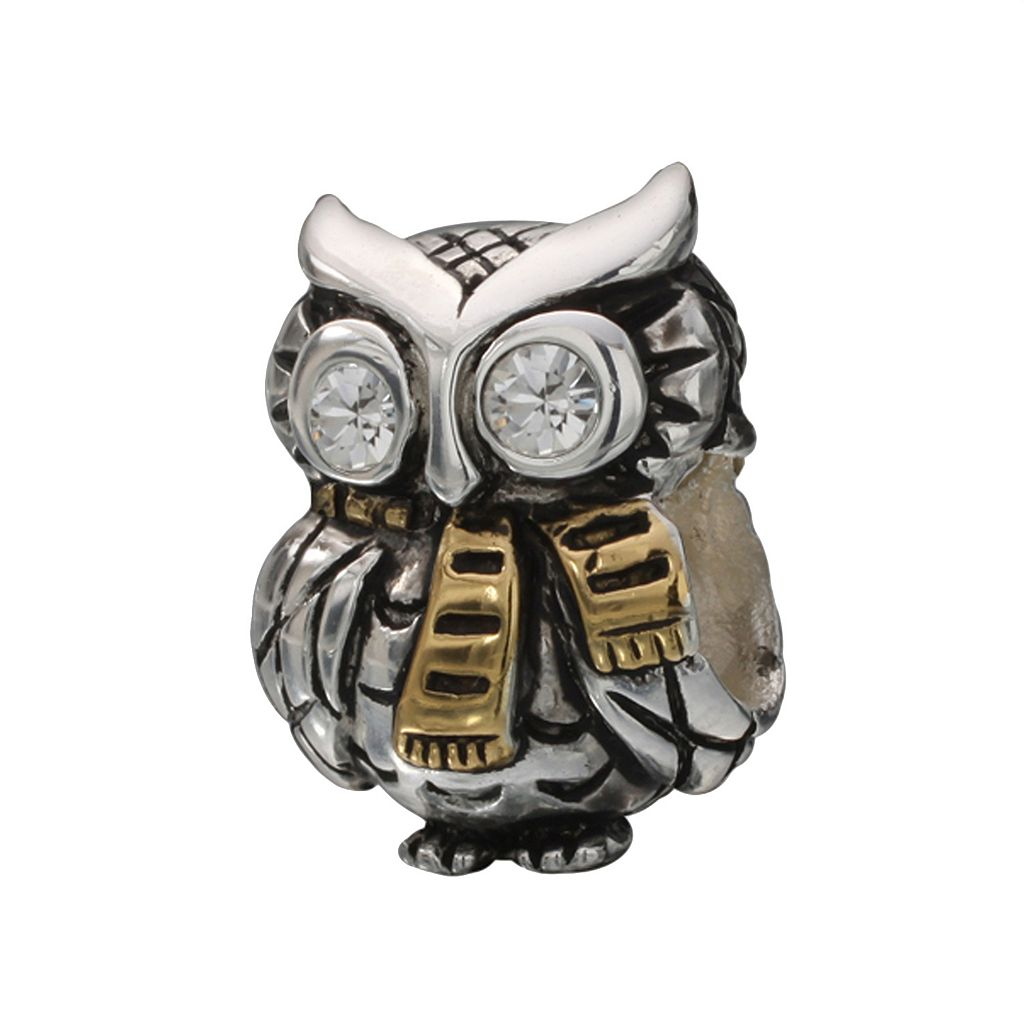Individuality Beads 24k Gold Over Silver & Sterling Silver Cubic Zirconia Owl Bead