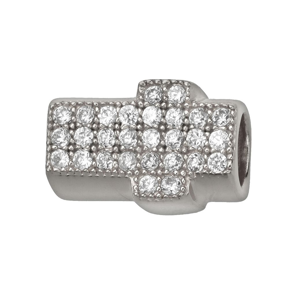 Individuality Beads Sterling Silver Cubic Zirconia Sideways Cross Bead