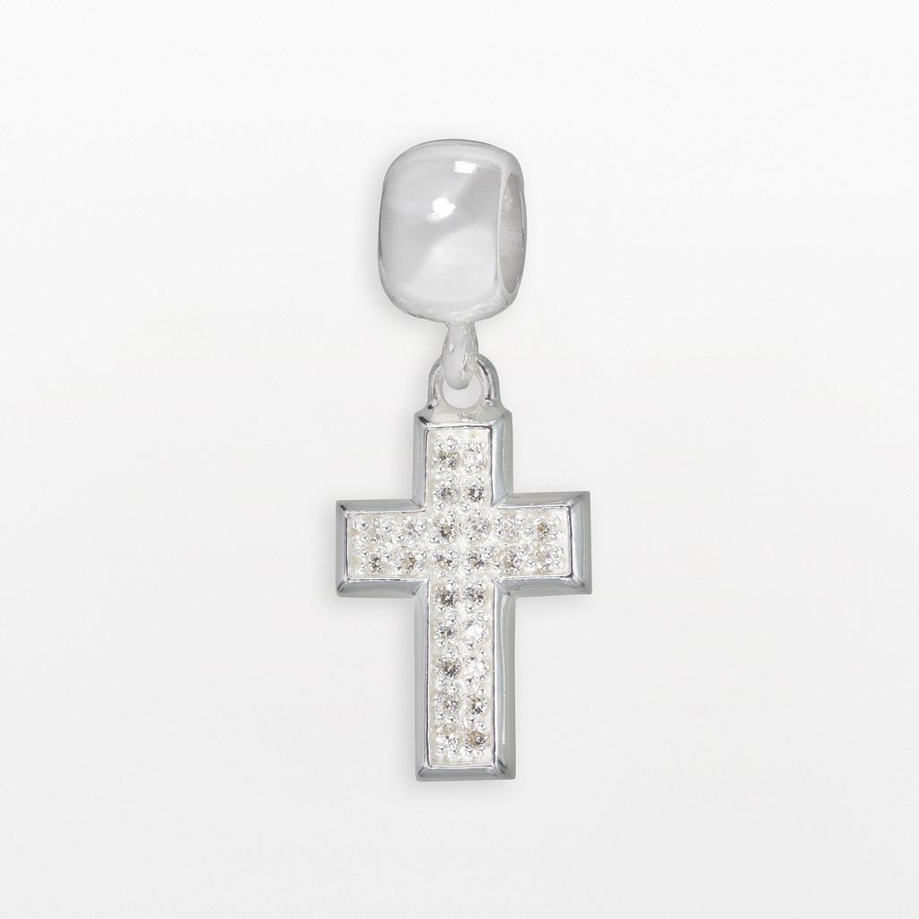 Individuality Beads Sterling Silver Cubic Zirconia Cross Charm