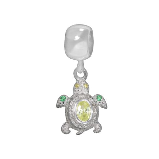 Individuality Beads Sterling Silver Light Green Cubic Zirconia and Crystal Turtle Charm