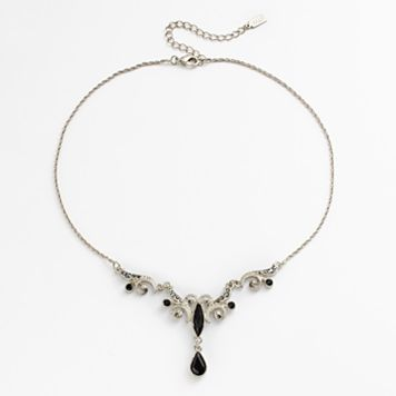 1928 Silver Tone Simulated Crystal Filigree Y Necklace