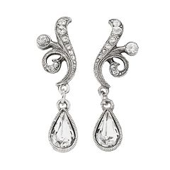 1928 Silver Tone Simulated Crystal Drop Earrings