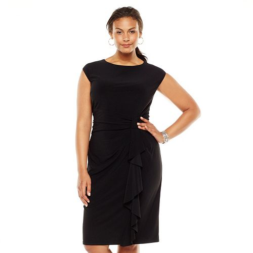 88a358791b Plus Size Chaps Solid Ruffle Knot-Front Dress