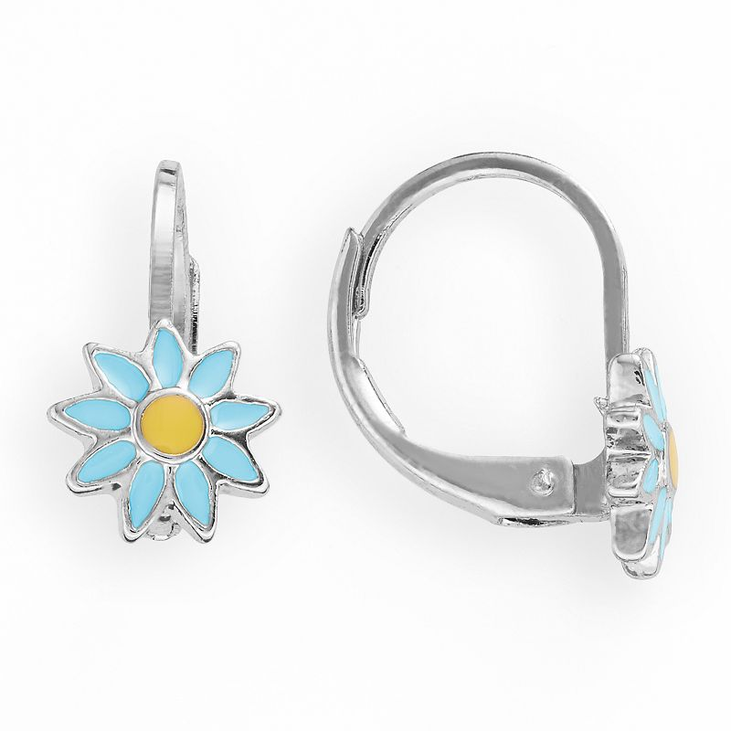 Junior Jewels Rhodium-Plated Brass Sunflower Drop Earrings - Kids