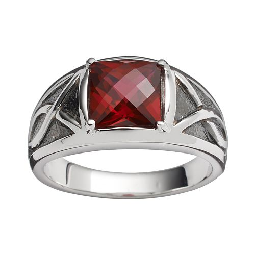 Sterling Silver Lab-Created Garnet Ring - Men