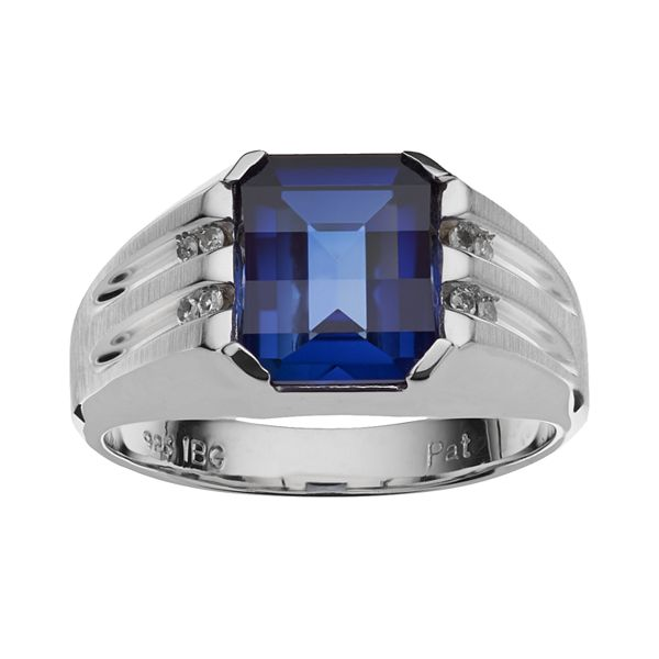 Sterling Silver Lab Created Sapphire Diamond Accent Ring Men
