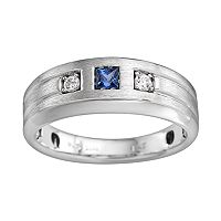 Sterling Silver Lab-Created Sapphire and Diamond Accent Ring - Men