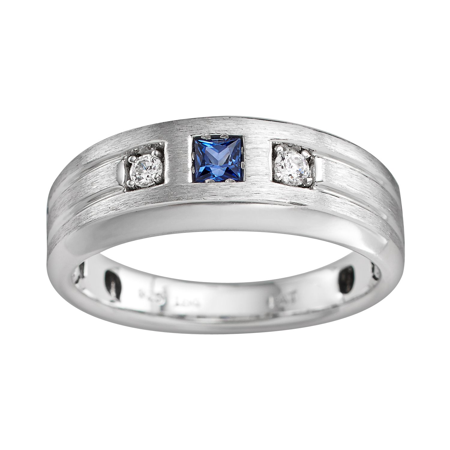Sterling Silver Lab Created Sapphire And Diamond Accent Ring   Men