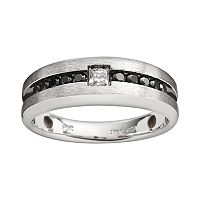 Sterling Silver 1/2 ctT.W. Black & White Diamond Ring - Men