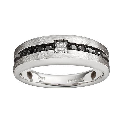 Sterling Silver 1/2-ct. T.W. Black & White Diamond Ring - Men