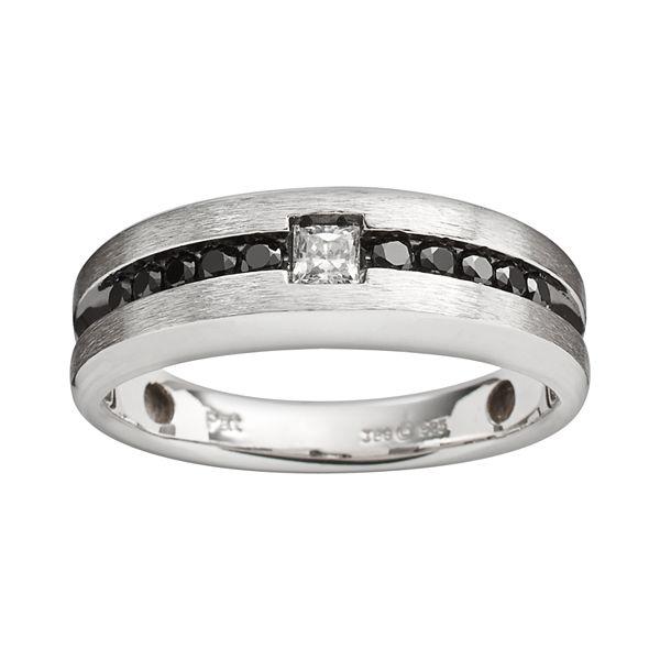 Sterling Silver 1 2 Ct T W Black White Diamond Ring Men