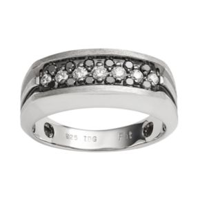 Sterling Silver 1/2-ct. T.W. Black and White Diamond Ring - Men
