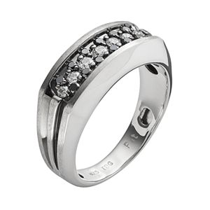 Men's Sterling Silver 1/2-ct. T.W. Black & White Diamond Ring