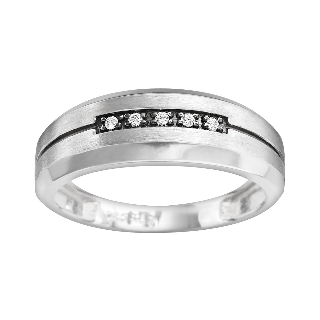 10k White Gold Diamond Accent Stripe Band - Men
