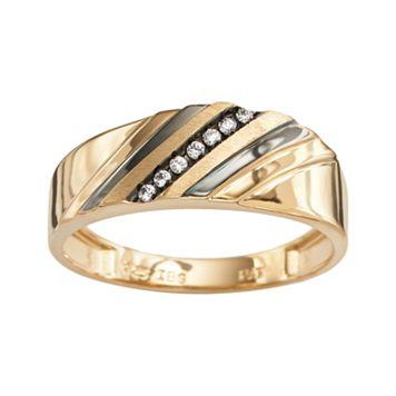 10k Gold Diamond Accent Stripe Band - Men