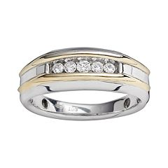 10k Gold Two Tone 1/4 ctT.W. Diamond Band - Men