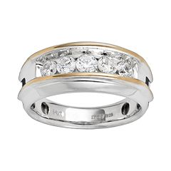10k Gold Two Tone 1-ct. T.W. Diamond Band - Men