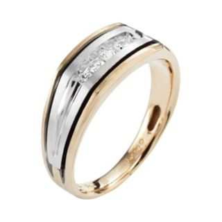 10k Gold Two Tone 1/4-ct. T.W. Diamond Band - Men