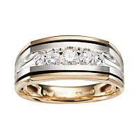 10k Gold Two Tone 1/2 ctT.W. Diamond Band - Men