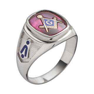 Sterling Silver Lab-Created Ruby Masonic Ring - Men