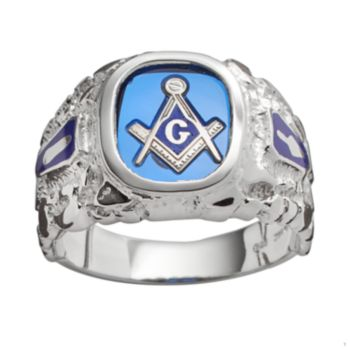 Sterling Silver Lab-Created Sapphire Masonic Ring - Men