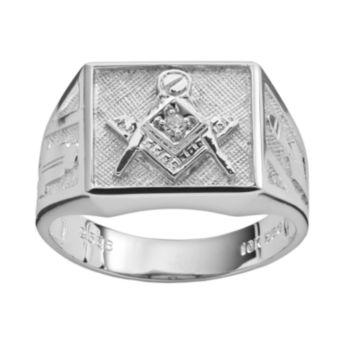 Sterling Silver Diamond Accent Masonic Ring - Men